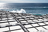 View of the Salinas de Punta Larga, in the background the Atlantic Ocean, Fuencaliente, La Palma, Canary Islands, Spain, Europe