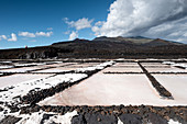 View of the salt pans at Fuencaliente, in the background the volcano of Teneguía, La Palma, Canary Islands, Spain, Europe