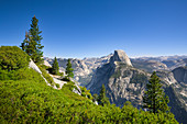 View of the Half Dome in summer with a blue sky, Yosemite National Park, USA