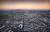 Las Vegas bird's eye view at sunset from the panoramic deck of the Stratosphere Tower, USA