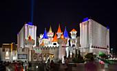 Hotel Excalibur in Las Vegas at night, USA
