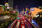 Glowing strip in Las Vegas at night, USA