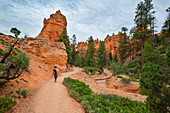 Woman hikes through Bryce Canyon National Park, USA