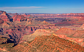 Grand Canyon red canyons at sun with blue sky, USA