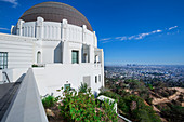 Griffith Observatory in Los Angeles at Sun, USA