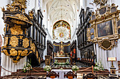 Archcathedral church in Gdansk Oliwa, dedicated to The Holy Trinity, Blessed Virgin Mary, and St. Bernard, baroque altar. Gdansk Oliwa, Pomorze region, Pomorskie voivodeship, Poland, Europe