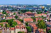 View from the tower of St Mary's church (Mariacki church) towards north. Mlode Miasto (Young Town), and installations of harbor and shipyard. Gdansk, Main City, Pomorze region, Pomorskie voivodeship, Poland, Europe