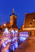 St. Catherine's church, and old Great City Mill on Radunia canal, fountain at Hevelius square. Gdansk, Main City, Pomorze region, Pomorskie voivodeship, Poland, Europe
