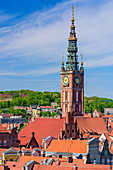 Gdansk, Main City, old town, Houses near Dlugi Targ street (Long Market), tower of City Hall, view from the tower of archeological museum towards south-west. Gdansk, Main City, Pomorze region, Pomorskie voivodeship, Poland, Europe