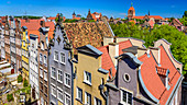 Gdansk, Main City, old town, Mariacka street, view from the tower of archeological museum towards north. Gdansk, Main City, Pomorze region, Pomorskie voivodeship, Poland, Europe