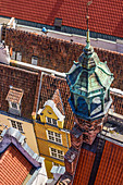 Gdansk, Main City, old town, roofs of houses located along Kramarska street, view from the tower of City Hall . Gdansk, Main City, Pomorze region, Pomorskie voivodeship, Poland, Europe