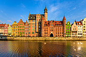 Gdansk, Main City, old town, old motlawa canal. From the left: Archeological museum and Mariacka gate. Gdansk, Main City, Pomorze region, Pomorskie voivodeship, Poland, Europe