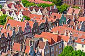 Houses at Dluga street (Long). View from the tower of St Mary's church (Mariacki church). Gdansk, Main City, Pomorze region, Pomorskie voivodeship, Poland, Europe