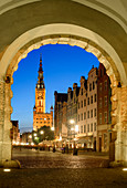 Gdansk, Main City, old town, Dlugi Targ street (Long Market), City Hall with tower, view from the arch of Zielona (Green) gate. Gdansk, Main City, Pomorze region, Pomorskie voivodeship, Poland, Europe