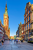 Altstadt, Straße Dluga, Turm des Rathauses, Danzig, Polen, Europa