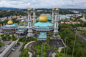 Aerial of Jame'Asr Hassan Bolkia Mosque, Gadong B, Bandar Seri Begawan, Brunei-Muara District, Brunei, Asia