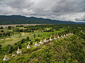 28 Buddhist stupas on hillside at Ma Sein overlooking Chindwin River, near Kalewa, Sagaing Region, Myanmar, Asia