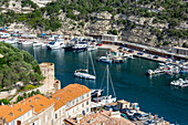 Boats moored in the marina in the southern Corsica town of Bonifacio, Corsica, France, Mediterranean, Europe
