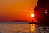 View of sunset in Cavtat on the Adriatic Sea, Cavtat, Dubrovnik Riviera, Croatia, Europe