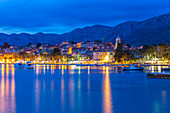View of town and Crkva Sv. Nikole church at dusk, Cavtat on the Adriatic Sea, Cavtat, Dubrovnik Riviera, Croatia, Europe