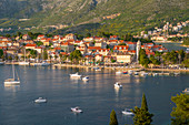 View of town at sunset from elevated position, Cavtat on the Adriatic Sea, Cavtat, Dubrovnik Riviera, Croatia, Europe