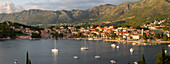 Panoramic view of town at sunset from elevated position, Cavtat on the Adriatic Sea, Cavtat, Dubrovnik Riviera, Croatia, Europe