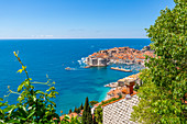 Elevated view of Dubrovnik Old Town, UNESCO World Heritage Site, and Adriatic Sea, Dubrovnik, Dalmatia, Croatia, Europe