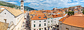 Panoramic view over red rooftops from the wall of the Old Town, Dubrovnik Old Town, UNESCO World Heritage Site, and Adriatic Sea, Dubrovnik, Dalmatia, Croatia, Europe
