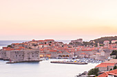 Dusk over the old town, UNESCO World Heritage Site, Dubrovnik, Croatia, Europe