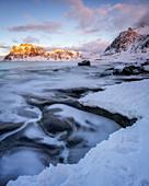 Uttakleiv Beach in winter, Lofoten Islands, Nordland, Arctic, Norway, Europe