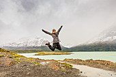 Enjoying the beautiful scenery of Torres del Paine National Park, Patagonia, Chile, South America