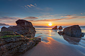 Sun setting over Sango Bay beach in mid-summer, Durness, Highlands, Scotland, United Kingdom, Europe