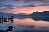 Brandlehow Jetty at dawn, Derwent Water, Lake District National Park, UNESCO World Heritage Site, Cumbria, England, United Kingdom, Europe