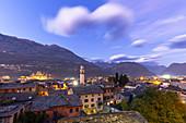 City of Morbegno at dusk, Valtellina, Lombardy, Italy, Europe