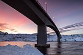 Fredvang Bridge at night, Lofoten, Arctic, Norway, Europe