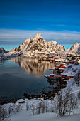 The fishing village of Reine in winter, Reinefjord, Moskenesoya, Lofoten, Arctic, Norway, Europe