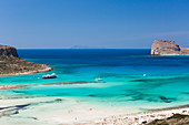View over Balos Beach to Gramvousa Bay and the island of Imeri Gramvousa, near Kissamos, Hania (Chania), Crete, Greek Islands, Greece, Europe