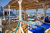 Les Pilotis beach restaurant, Leucate Plage, Occitania, France