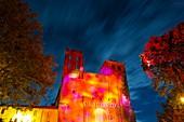 France, Dordogne, Perigord Pourpre, Pays des Bastides, Saint Avit Senieur, 11th century abbey church on the route of Compostela listed as World Heritage by UNESCO enlighten by Les Murmures de Saint Avit