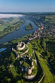 France, Eure, Les Andelys, Chateau Gaillard, 12th century fortress built by Richard Coeur de Lion, new look after several years of renovation, Seine valley (aerial view)