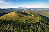 France, Puy de Dome, area listed as World Heritage by UNESCO, Ceyssat, Chaine des Puys, Regional Natural Park of the Auvergne Volcanoes, the Puy de Côme (aerial view)