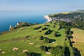 France, Seine Maritime, Etretat, Cote d'Abatre, the golf (aerial view)