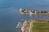 France, Charente Maritime, Talmont sur Gironde, labelled Les Plus Beaux Villages de France (The Most Beautiful Villages of France), the fisheries and the village (aerial view)