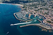 France, Vendee, Yeu island, Port Joinville (aerial view)