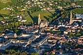 France, Vendee, Saint Laurent sur Sevre, Saint Louis Marie Grignion de Monfort basilica, La Sagesse chapel and the village (aerial view)
