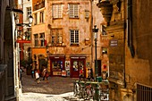 France, Rhone, Lyon, historical site listed as World Heritage by UNESCO, pedestrian street in the historical city cente