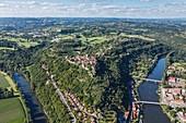 France, Lot, Capdenac, labelled Les Plus Beaux Villages de France (The Most beautiful Villages of France), the village over the Lot river (aerial view)