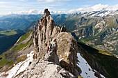 France, Savoie, Parc National de la Vanoise (National park of Vanoise), Tarentaise Valley, Courchevel, female practicing via cordata Plassa the Rocks with a guide (Roland Georges)