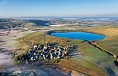 France, Puy de Dome, La Godivelle, Parc Naturel Regional des Volcans d'Auvergne (Natural regional park of Volcans d'Auvergne), Cezallier, Lac d'en Haut, volcanic maar lake (aerial view)