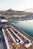 France, Bouches du Rhone, Marseille, the Old Port, Christmas market and Ombriere by architect Norman Foster